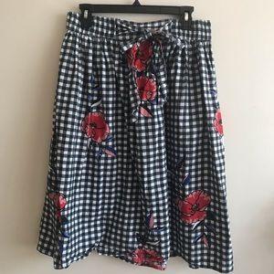 Floral Checkered Skirt